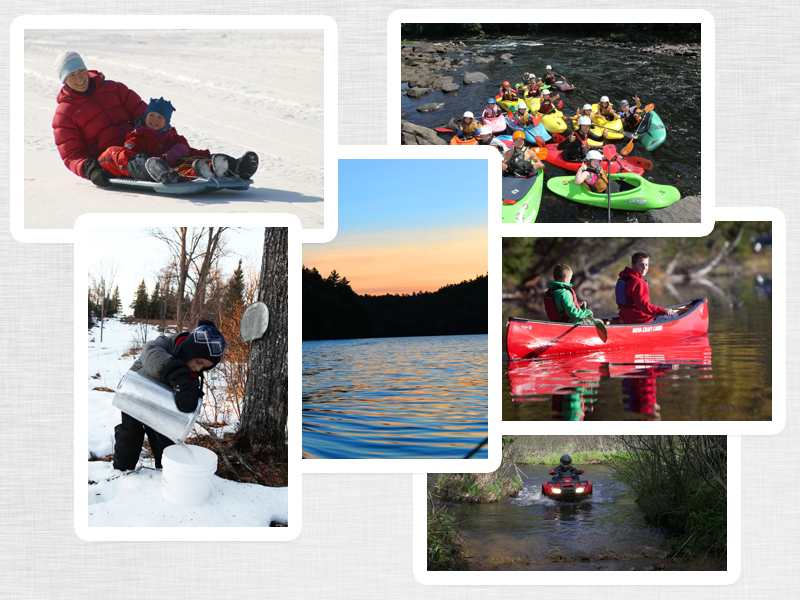 A collage of photos - people enjoying outdoor activities like tobogganing, canoeing and more.